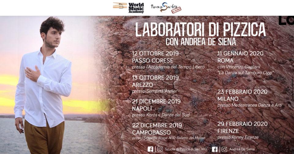 laboratori di pizzica, tour, italia, andrea de siena
